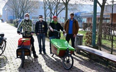 Neue Ausleihstation der fLotte für Lastenräder im Kiezladen WaMa