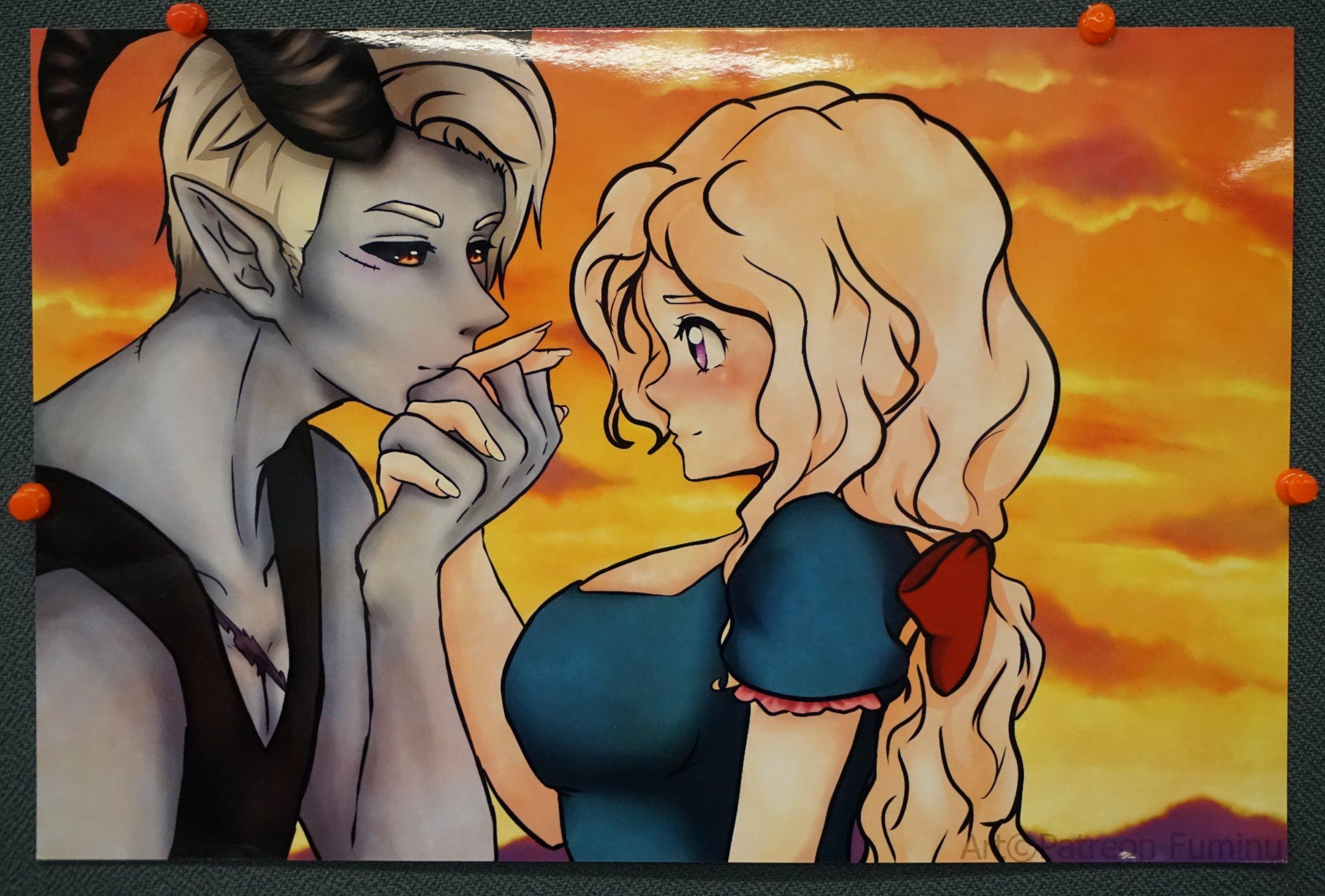 Das Bild zeigt ein weiteres Manga von Fuminu, im großen Raum des Kiezladens WAMA ausgestellt.